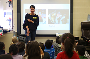 Virginia coordinator teaches young children about Japan during a cultural presentation